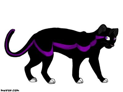 sleek black she cat with purple eyes she has a purple stripe on her ...